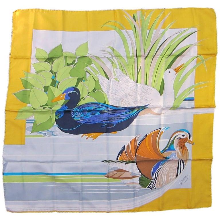 Gucci Silk BIRD Duck Scarf Never Worn 1990s