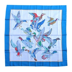 1990s Gucci Silk blue Scarf Flock of Flying birds, Never worn