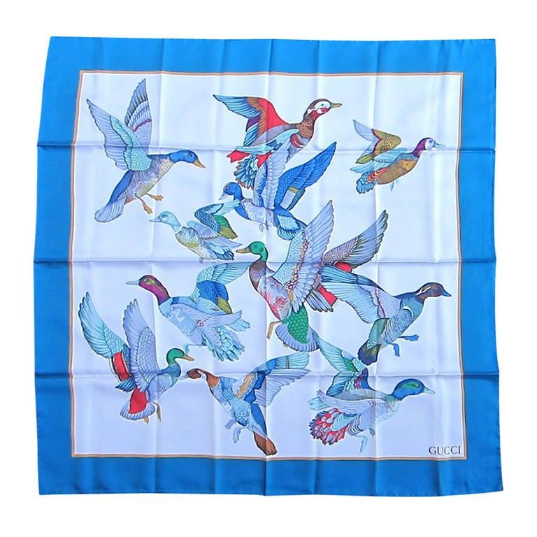 1990s Gucci Silk blue Scarf Flock of Flying birds, Never worn