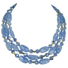 1960s Vintage Trifari Glass 3 Strand Bib Necklace