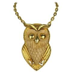 Vintage 1960s Wooden Massive Owl Pendant