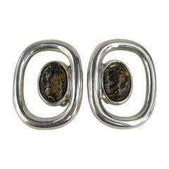 Mexican Sterling Silver Jasper Stone Earrings, Never worn