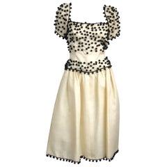 1960's Givenchy Cream / Black Embellished Ball Vintage Dress