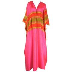 1960s Vintage Silk Dupioni Pink Orange Caftan Dress Asian Bergdorf Goodman