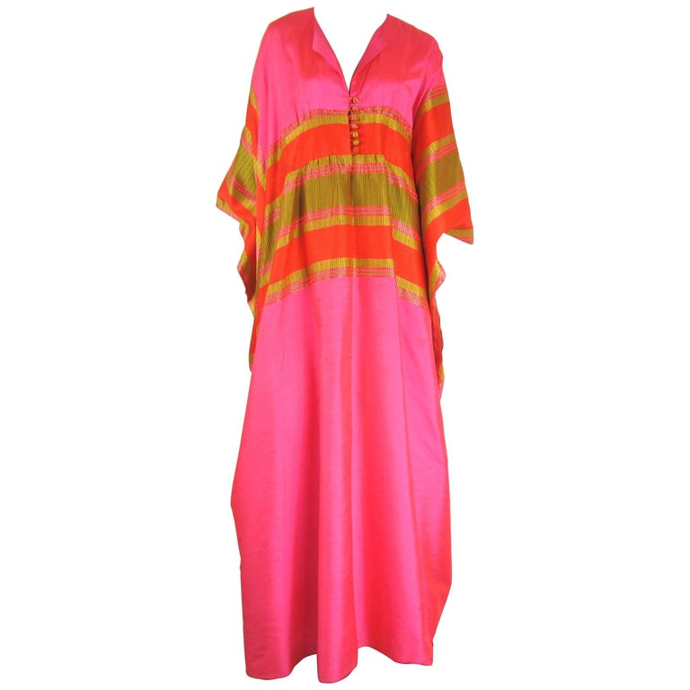 1960s Vintage Silk Dupioni Pink Orange Caftan Dress Asian Bergdorf Goodman