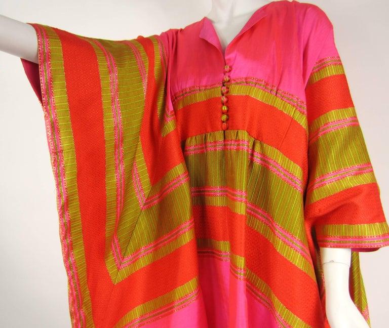 Red 1960s Vintage Silk Dupioni Pink Orange Caftan Dress Asian Bergdorf Goodman For Sale