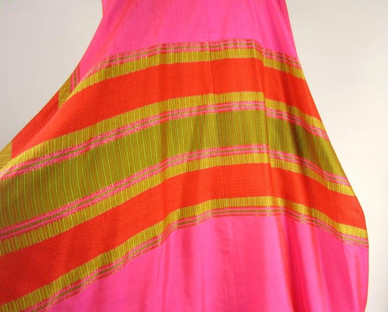 Women's or Men's 1960s Vintage Silk Dupioni Pink Orange Caftan Dress Asian Bergdorf Goodman For Sale
