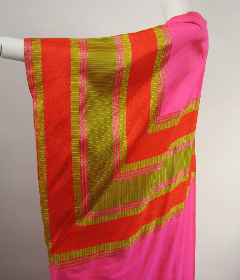 1960s Vintage Silk Dupioni Pink Orange Caftan Dress Asian Bergdorf Goodman For Sale 1
