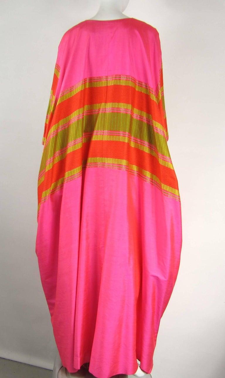 1960s Vintage Silk Dupioni Pink Orange Caftan Dress Asian Bergdorf Goodman For Sale 3