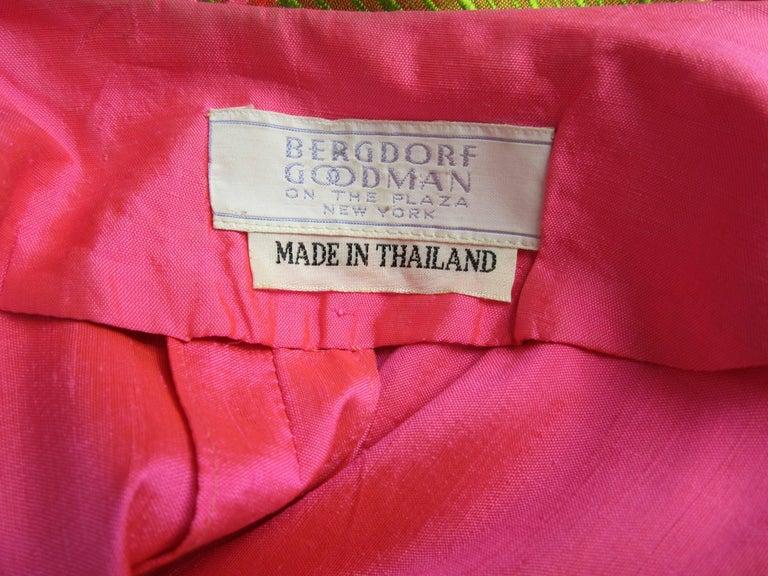 1960s Vintage Silk Dupioni Pink Orange Caftan Dress Asian Bergdorf Goodman For Sale 4
