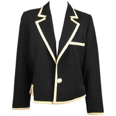 Vintage 1980s Black & White Yves Saint Laurent Rive Gauche Classic Jacket