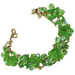 Vintage Juliana DeLizza & Elster Peridot Green Bracelet Book Piece