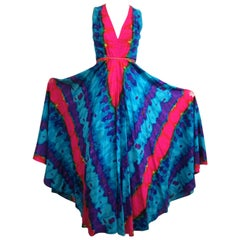 1970's Vintage Palazzo Pants -Tie Dye Hippie BOHO Jump suit Pants .