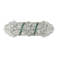 1920s Antique Platinum Art Deco Diamond Brooch Pin