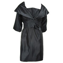 Vintage Little Black Taffeta 1960s Dress & Bolero Jacket Tina Rose