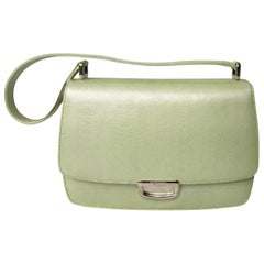 ESCADA Pearl Lime Green Reptile Embossed Leather Handbag 1980's New Never Used