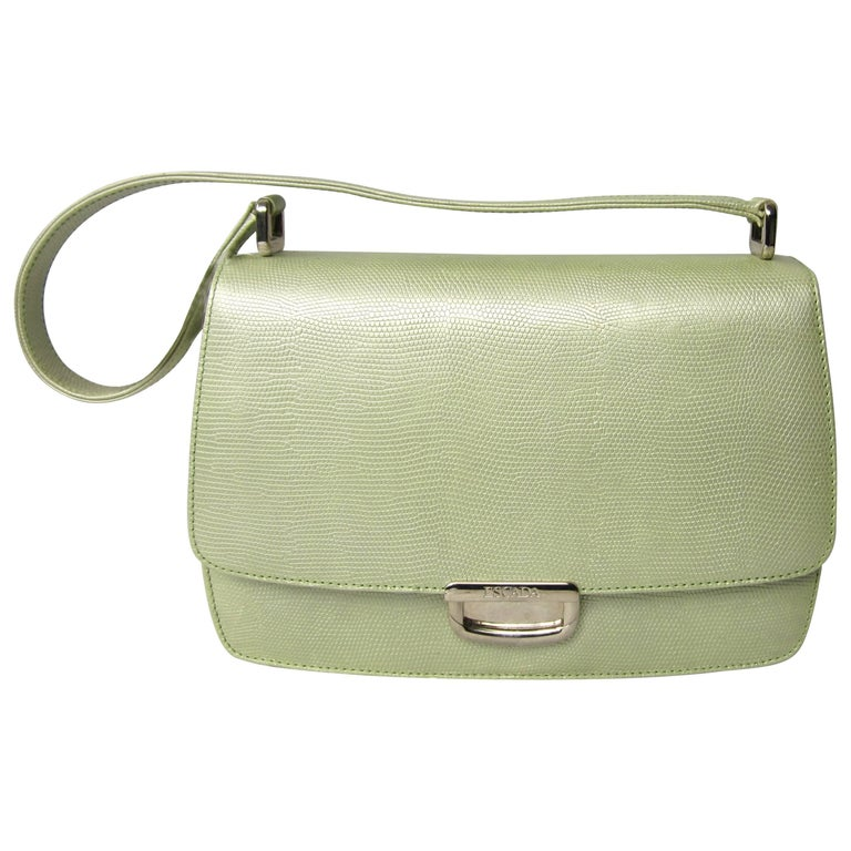 Escada Pearl Lime Green Reptile Embossed Leather Handbag 1980 S New Never Used For