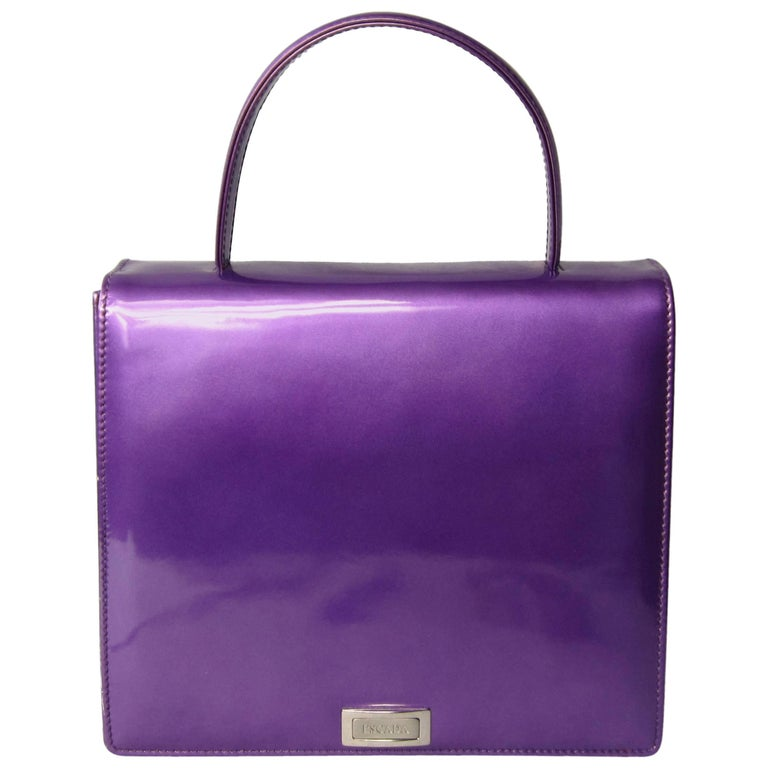 Purple Calf Leather Escada 1990s Handbag New, never used