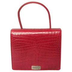 Deep Red Croc Embossed Leather Escada Kelly Handbag 1980s New, Never Worn