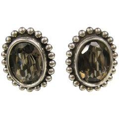 1990s Stephen Dweck Sterling Silver Smokey Quartz Oval Bezel Earrings,
