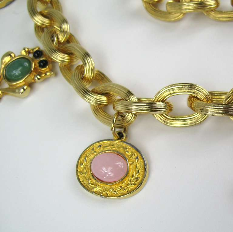 1980s JUDITH LEIBER Semi Precious Stone Charm Belt never worn  In New Condition For Sale In Wallkill, NY