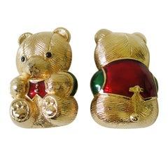 JUDITH LEIBER Enamel Figural Dual Teddy Bear Pin In box, Never Worn