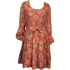 1970s Vintage Bohemian Embellished Baby doll Dress