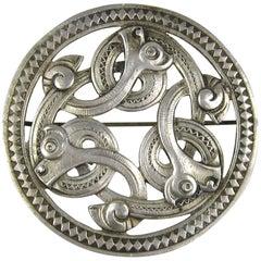 Danish Mid Century Modern Silver Serpent Brooch Pin