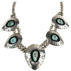 Navajo Shadow Box Squash Turquoise Matrix Sterling silver Necklace