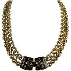 1980's Swarovski Bezel Crystal Black Enamel necklace, Never Worn!