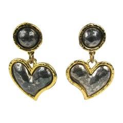 Large Edouard Rambaud Heart Dangle Earrings, 1980s