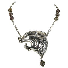 1980's FREDERIC JEAN DUCLOS ON WAX Dragon Sterling Silver Necklace