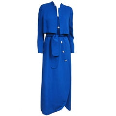 1990s Pauline Trigere Scalloped Wrap Blue Gown & Bolero Jacket