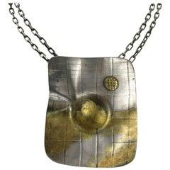 Large Modernist Sterling Silver Gold Wash Handmade Pendant Necklace