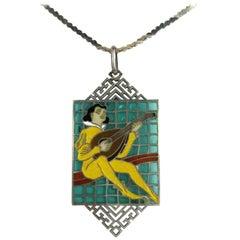 Vintage Sterling Silver Plique Du Jour Necklace Pendant Troubador