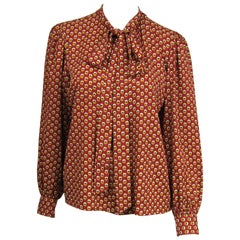 1970s VIntage Silk YVES Saint Laurent Blouse 1976 Collection YSL