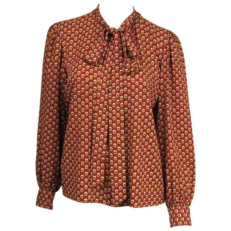 1970s VIntage Silk YVES Saint Laurent Blouse 1976 Collection YSL