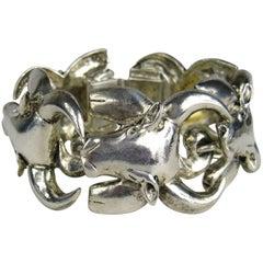 Patrick Forguy Paris Sterling Silver Bull Link Bracelet