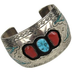 Navajo Sterling Silver Turquoise Coral Shadow Box Cuff Bracelet Native American