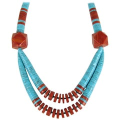 Old Pawn Santo Domingo Turquoise and Spiny Oyster Heishi Jacla Necklace