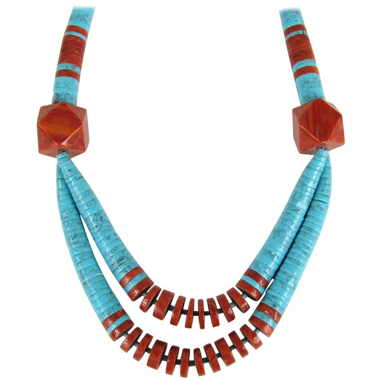 Old Pawn Santo Domingo Turquoise and Spiny Oyster Heishi Jacla Necklace For Sale