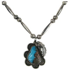 Navajo Shadow Box Turquoise Sterling Silver Necklace, 1970s