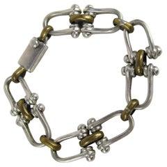 Vintage Sterling Silver Taxco Link Bracelet 2 tone Gold wash 1970s