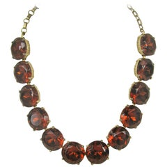 Vintage 1940's Amber Hollywood Glam Necklace Choker
