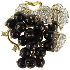 Vintage 1980s Nolan Miller Grape Cluster Crystal Brooch