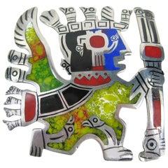 Vintage Sterling Silver Pendant Enamel Peru Peruvian Pendant