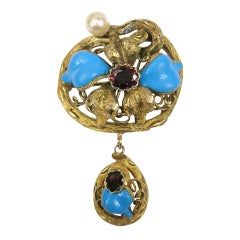 Stunning 14k Gold floral Blue Enamel Pearl Brooch Pin