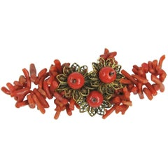 Vintage Miriam Haskell spezzati branch coral floral brooch 1930s