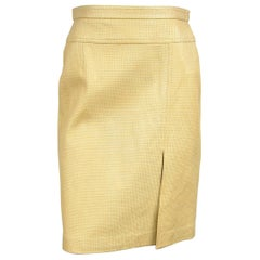 1990s Gold Escada Leather Skirt, Never Worn