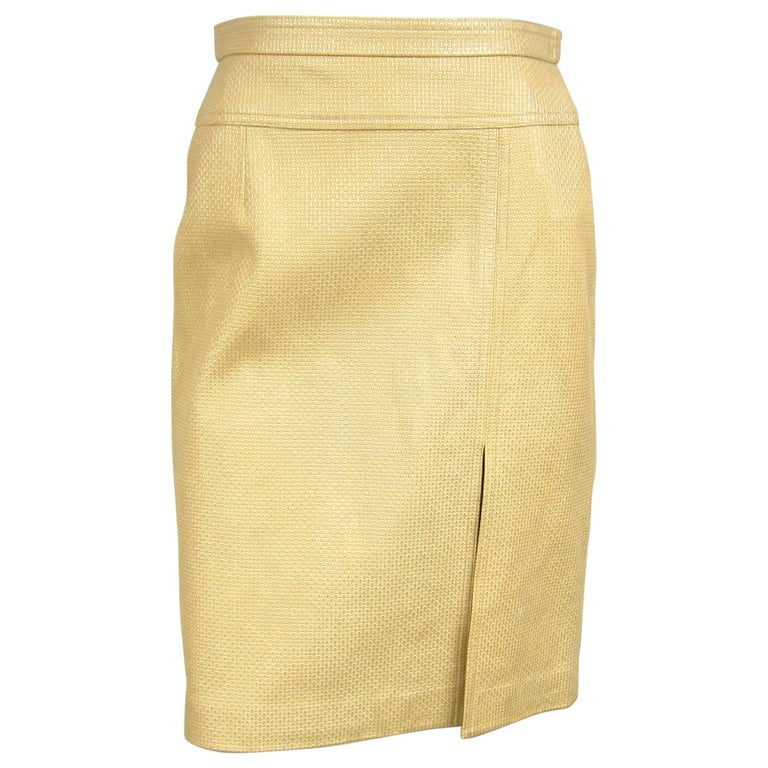 1990s Gold Escada Leather Skirt, Never Worn